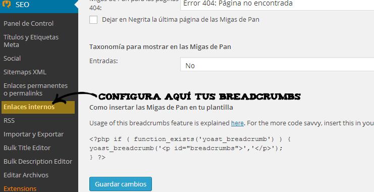 Configurando breadcrumbs