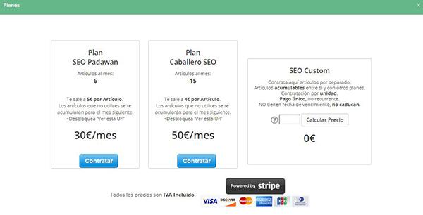 Planes y tarifas de precios de SeoCont