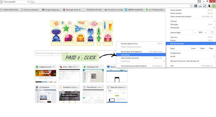 Paso 3º: Acudir al menú de Google superior derecho del navegador para localizar la pestaña extensiones de Google Chrome.