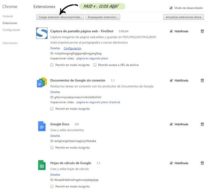 Paso 4º: Página de configuración del navegador de Google Chrome donde se encuentra el item Extensiones.