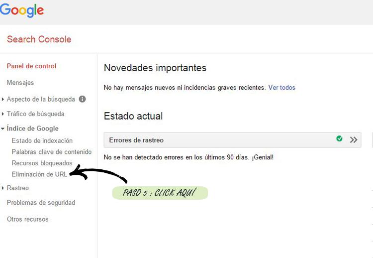 Paso 5º: Acudir a Search Console de Google para solicitar la eliminación de las urls que no deseamos tener indexadas.