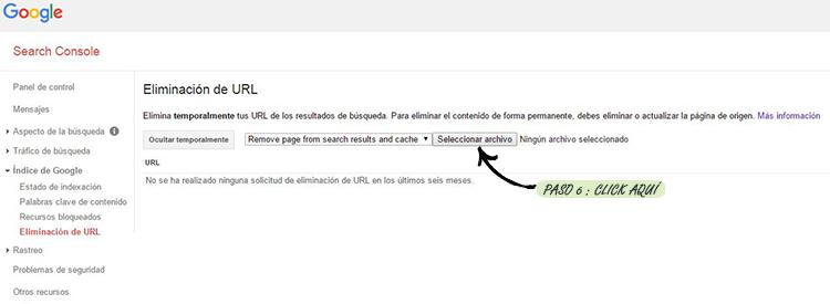 Paso 6º: Detectar imput para cargar archivo .txt con las urls que deseamos eliminar de la caché y los resultados de búsqueda de Google consiguiendo así eliminar urls de google masivamente.
