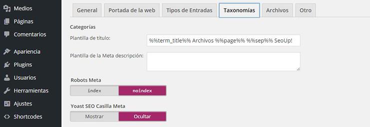 Configuración de taxonomía de categorías en wordpress by Yoast.