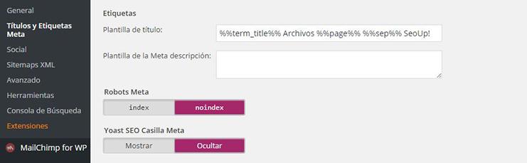 Configuración de taxonomía de las etiquetas en wordpress by Yoast.