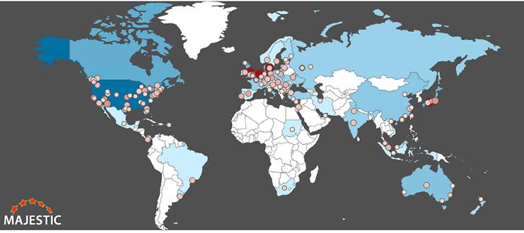 Mapa de procedencia de los enlaces.