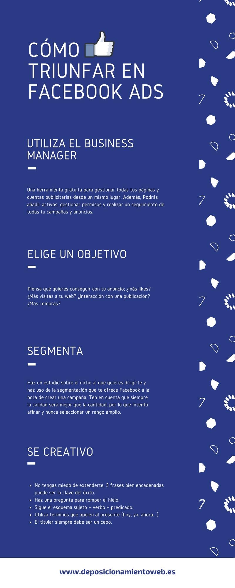 Infografía que recoge los aspectos clave a tener en cuenta en Facebook Ads