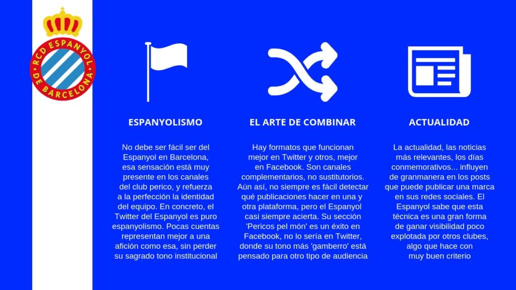 En su gestión de redes sociales. el Espanyol muestra una gran actividad en Twitter.