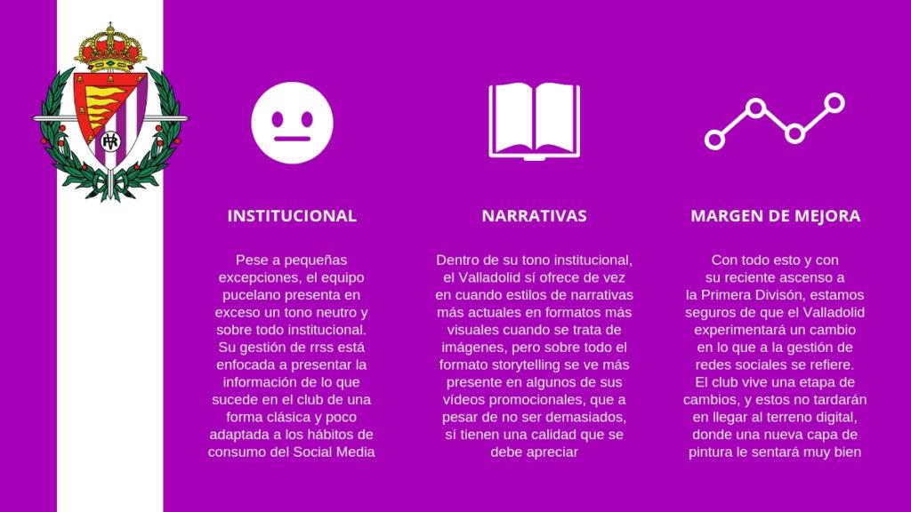 La gestión de redes sociales del Valladolid tiene un gran margen de mejora.